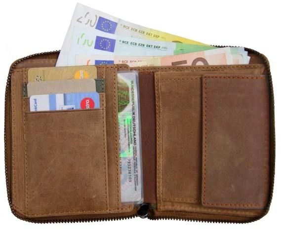 Portemonnaie Herren Leder Personalausweis Geld