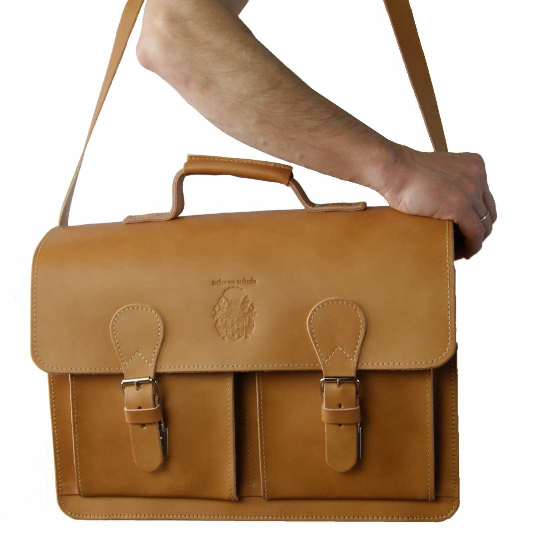 3736e7f3900 ... Vorschau: 2-Fächer Schultasche 42 cm groß Leder hellbraun ...