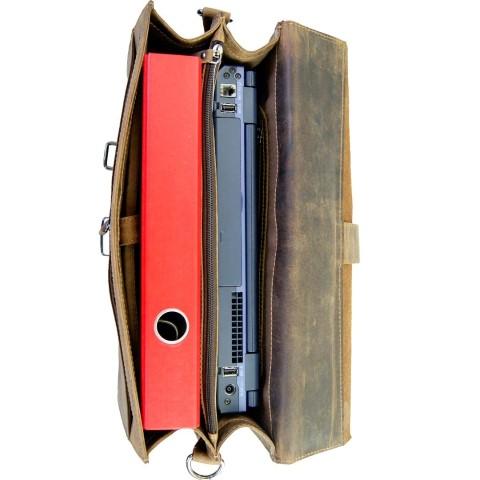 Aktentasche braun 2 Fächer Laptop Ordner